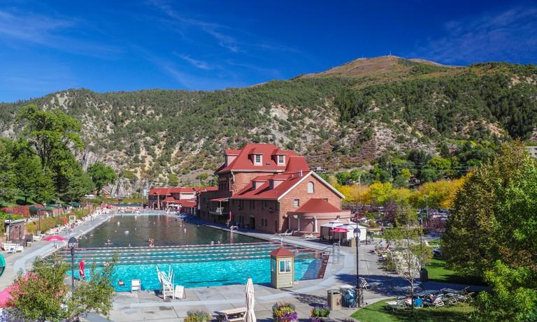 Autumn colors by Glenwood Hot Springs Pool in Glenwood, Colorado