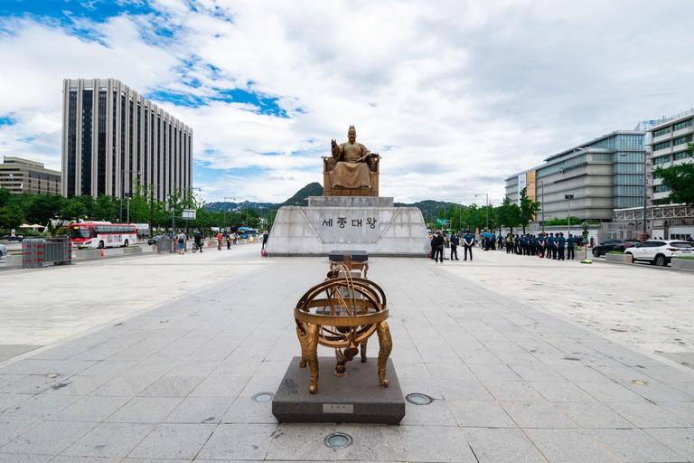 King Sejong statue at Gwanghwamun Square in Seoul, South Korea.