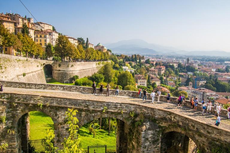 Citta Alta (High town) Bergamo, overlooking modern Bergamo, Bergamo province, Lombardy, Italy.