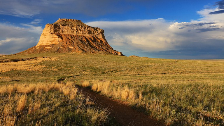 Hiking trail Pawnee Buttes National Grassland Colorado on American Great Plains