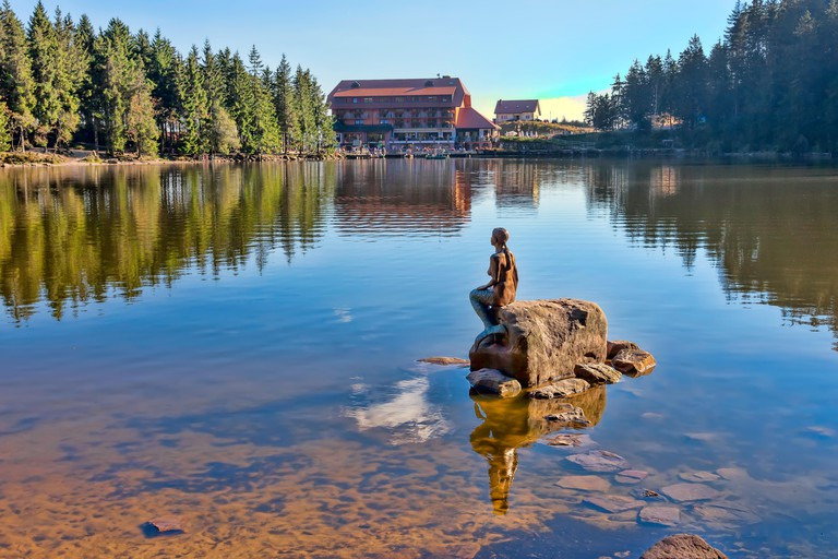 Nixen at Hotel at lake Mummelsee in Southern Germany Black Forest, Baden-Wuerttemberg, Germany, Europe