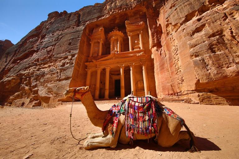 View of the Treasury, Al-Khazneh with camels, Petra, Jordan