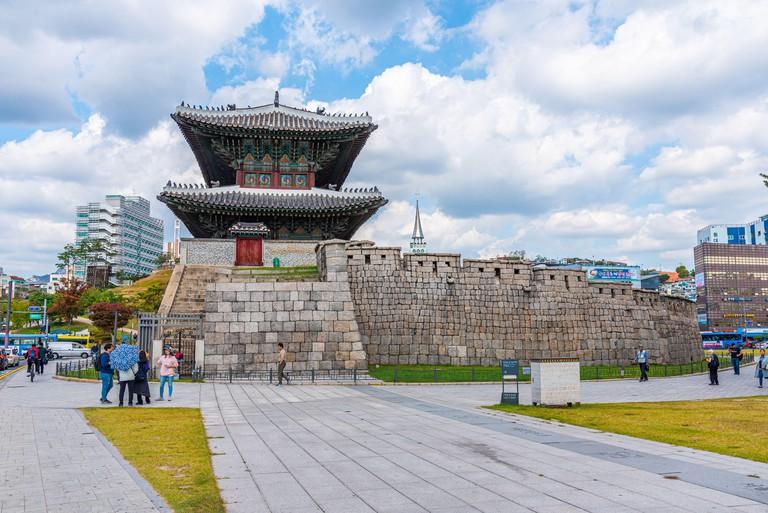 SEOUL, KOREA, OCTOBER 19, 2019: Heunginjimun gate in the center of Seoul, Republic of Korea