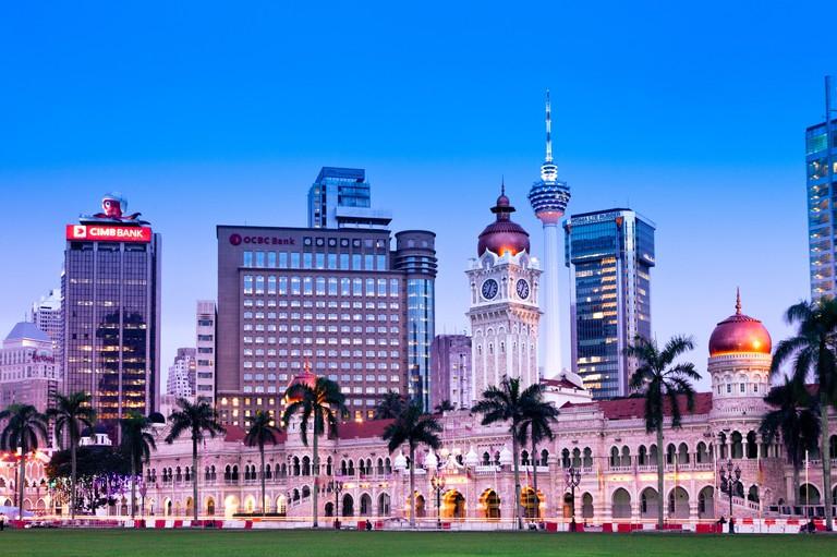 Kuala Lumpur, Malaysia - NOVEMBER 23: Sultan Abdul Samad Building at night on November 23, 2012, Merdeka Square, Kuala Lumpur.