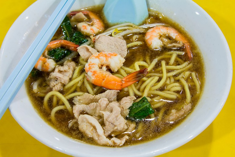 Hokkien Prawn Mee Soup Noodles with Pork and Vegetables Closeup