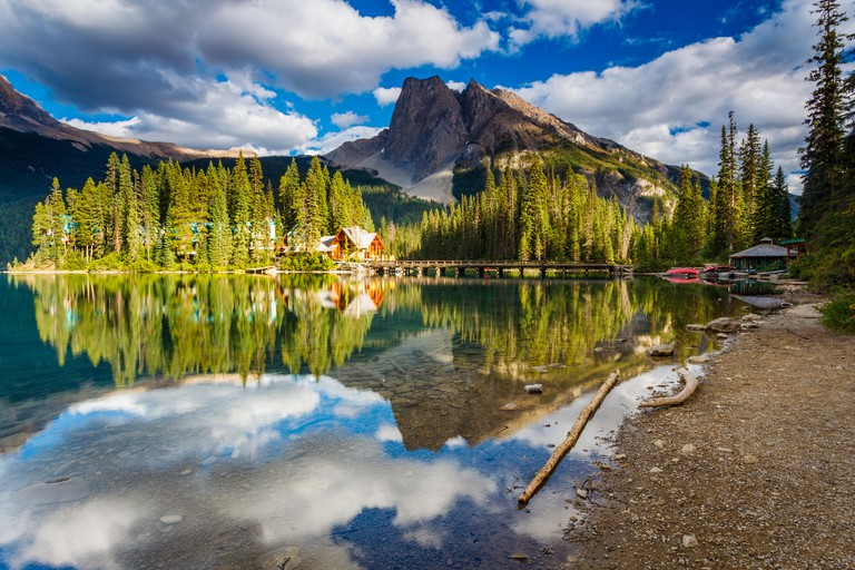 September sunset at Emerald Lake Lodge, in the Canadian Rockies, with Mount Burgess and Wapta Mountain in the background.