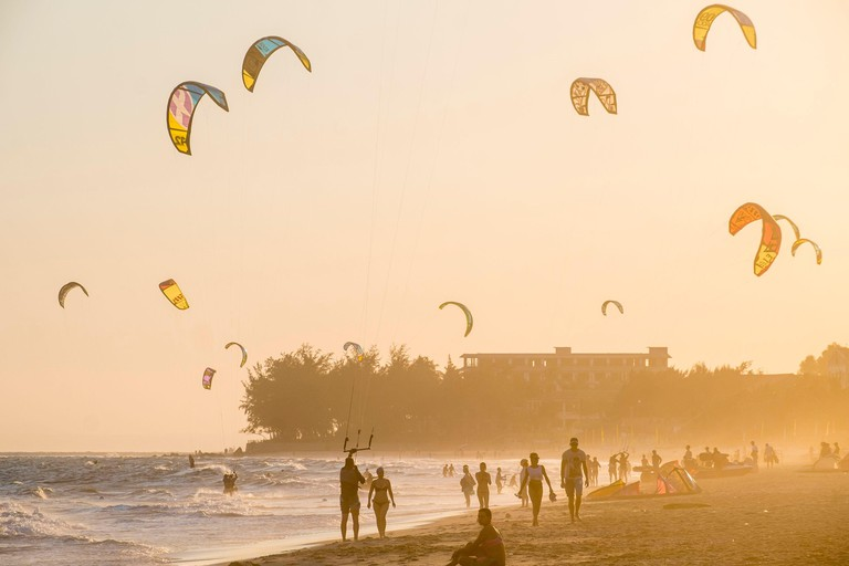 Vietnam, Binh Thuan province, the village of Mui Ne Beach is a popular spot for the practice of Kite-Surf