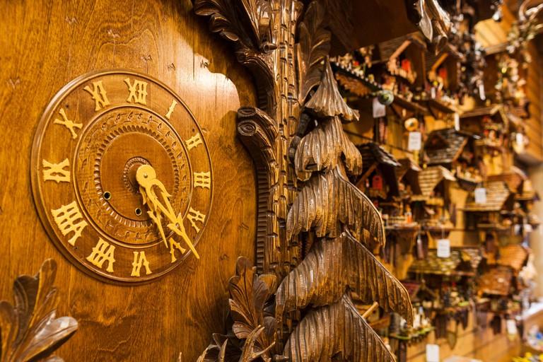 Germany, Baden-Wurttemburg, Black Forest, Triberg, cuckoo clocks for sale
