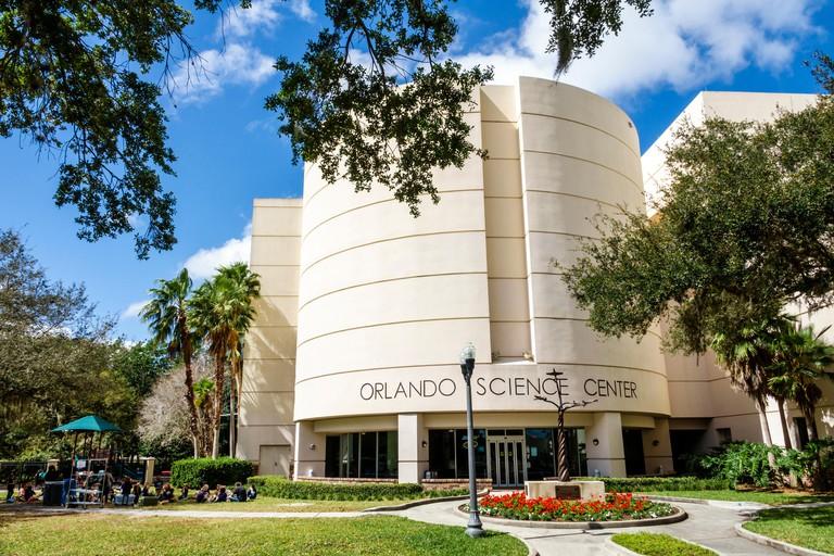 Florida, FL, South, Orlando, Loch Haven Park, cultural park, Orlando Science Center, exterior, science museum, contemporary design, front, entrance, s