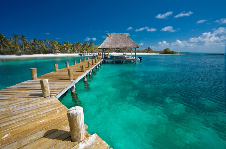 Jetty, Caribbean island, Isla Contoy, Quintana Roo, Mexico