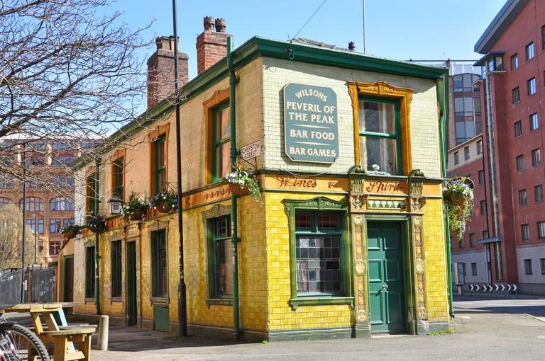 Peveril of the Peak pub, famous historic  pub, Manchester, UK
