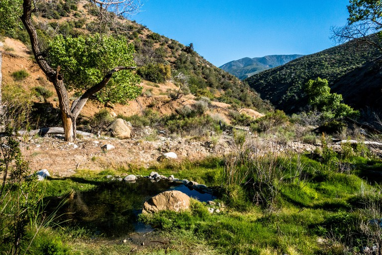 A natural pool of hot water at the Sespe Hot Springs near Ojai, California J1DX1X