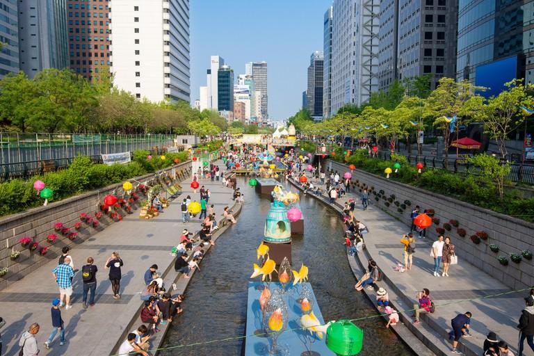 Seoul, South Korea: Cheonggyecheon stream lantern festival