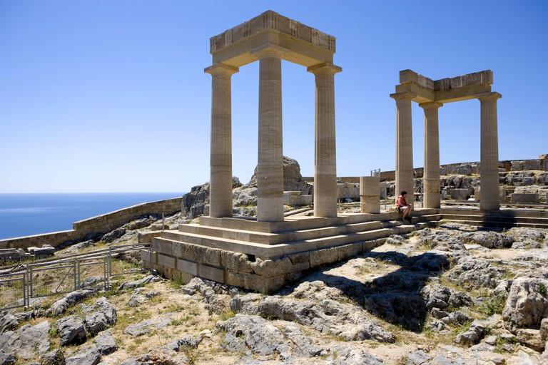 Greece, Rhodes, Lindos Acropolis, temple, Athena's temple, landmark, tourism, place of interest, pillars, ruin, tourist, woman, person, sit, sea, waters, horizon, Lindos, Acropolis,