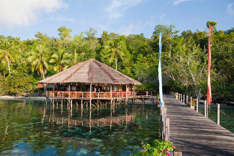 Restaurant in the Papua Explorers Resort, Gam, Raja Ampat, west Papua, Indonesia
