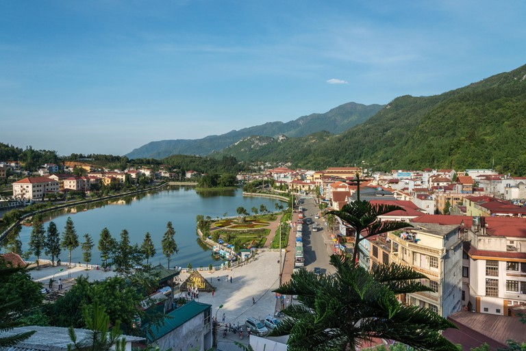Scenic view of Sapa lake and town northern Vietnam