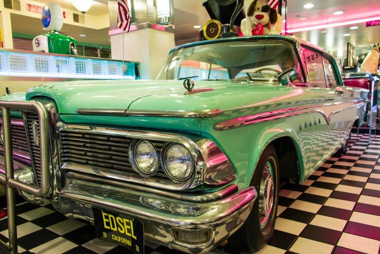 Antique Edsel car inside the Sears Fine Food restaurant on Union Square, San Francisco