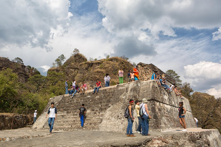 March 30, 2014 Tepoztlan, Mexico: El Tepozteco is an archaeological site in the state of Morelos. It consists of a small temple to Tepoztecatl, the Az