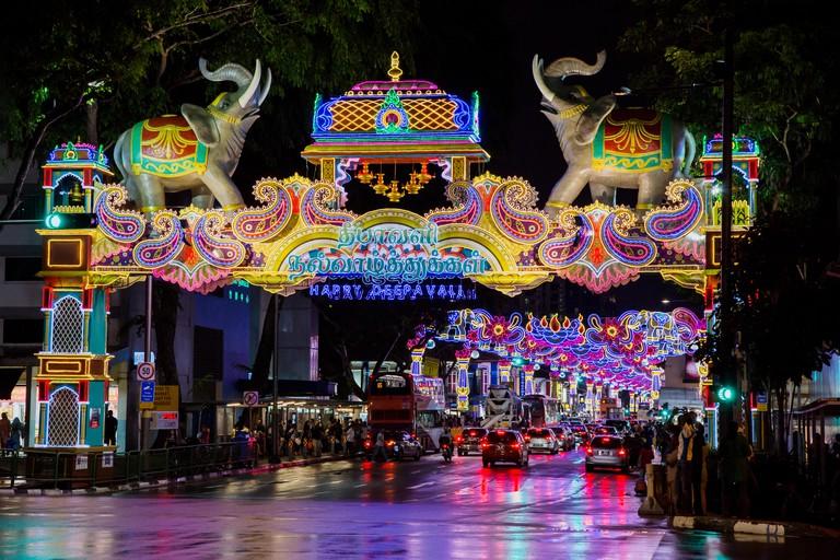 Street Lights celebrating Deepavali Festival October 2017Little IndiaSingaporeTV000418