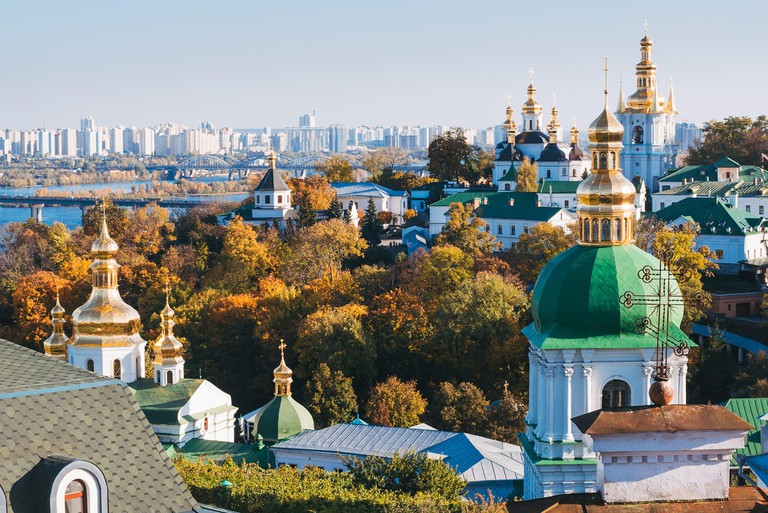 Autumn leaves don the trees at the Pechersk Lavra Ukranian Orthodox Church in Kiev, Ukraine