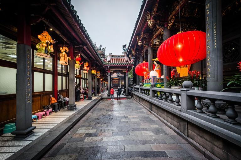 Corridor inside Longshan Temple, in the Wanhua District,  Taipei, Taiwan.