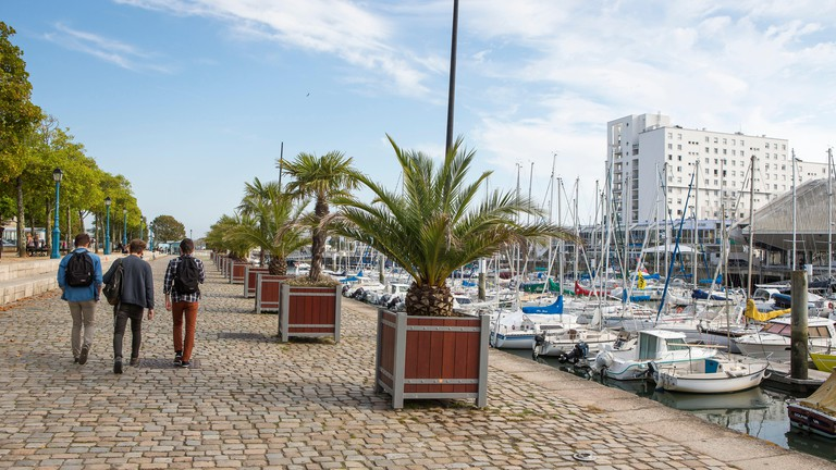 Lorient (Brittany, North-western France): atmosphere in downtown Lorient, along the quays of the marina, with buildings in the background