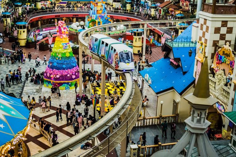 Seoul, South Korea - April 6,2018: World Monorail in Lotte World Adventure theme park.