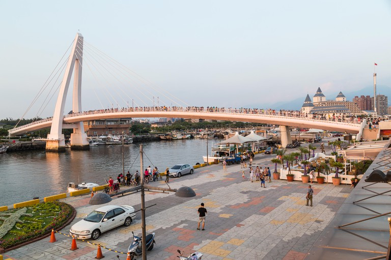Lover Bridge of Tamsui in New Taipei City, Taiwan at sunset