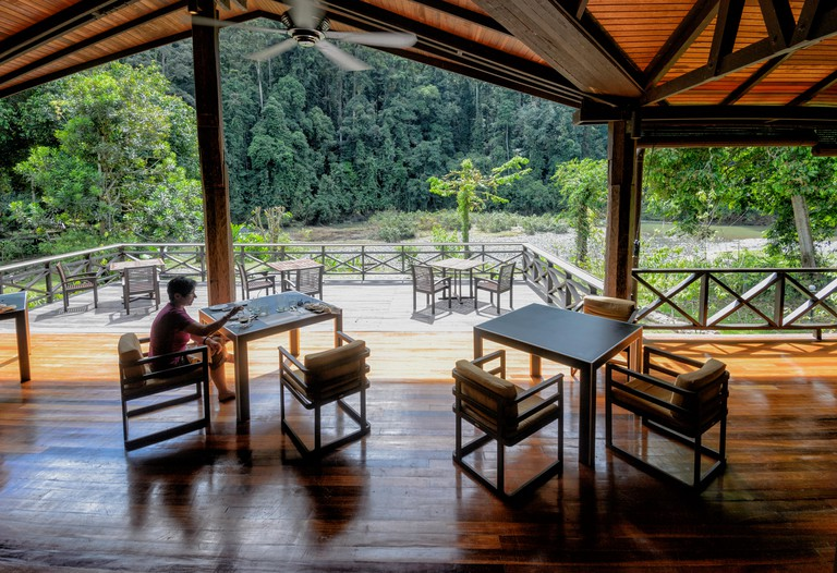 Terrace and Restaurant at the Borneo Rainforest Lodge, Danum Valley Conservation Area, Borneo, Sabah, Malaysia