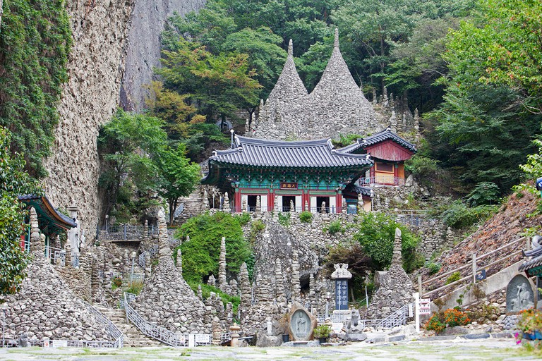 Maisan Mountain is a popular tourist destination. It's showcasing the many stone pagodas of Tapsa Temple. This temple has around 80 tall stone pagodas