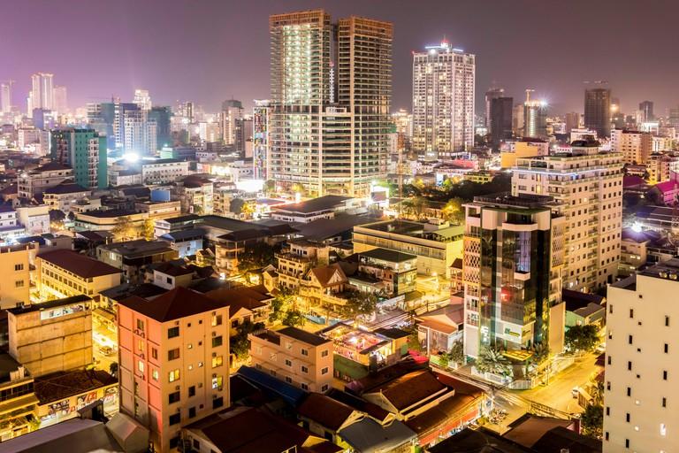 City of Phnom Penh Cambodia at night.