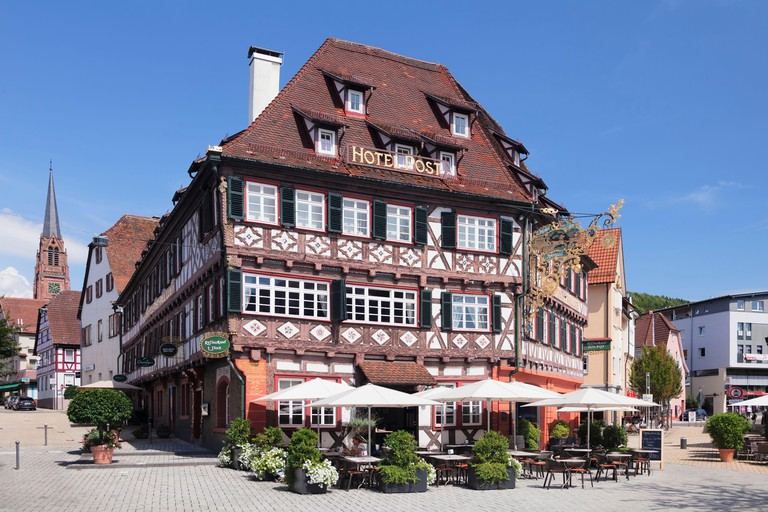 Historical half-timbered house Hotel Post, Nagold, Black Forest, Baden-Wurttemberg, Germany