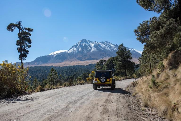Off-road vehicle on runway to Nevado de Toluca,Volcano,Mexico