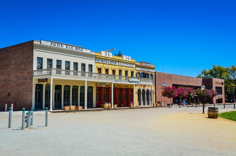 Row of restored historic buildings in Old Sacramento State Historic Park in Sacramento, California.