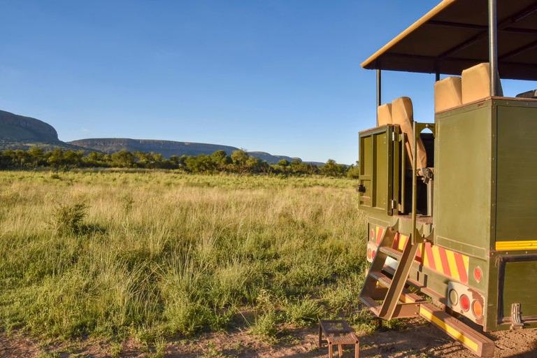 The back of a safari vehicle with steps in the Magaliesberg near Johannesburg and Pretoria in South Africa