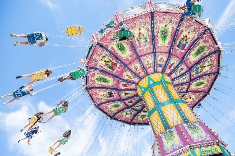 Fairground rides on a beautiful, sunny day at California State Fair, Sacramento