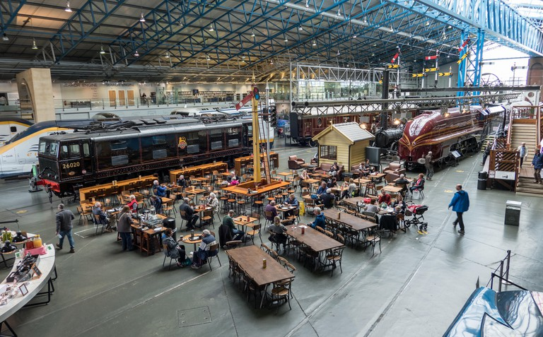 The National Railway Museum exhibits and cafe York UK