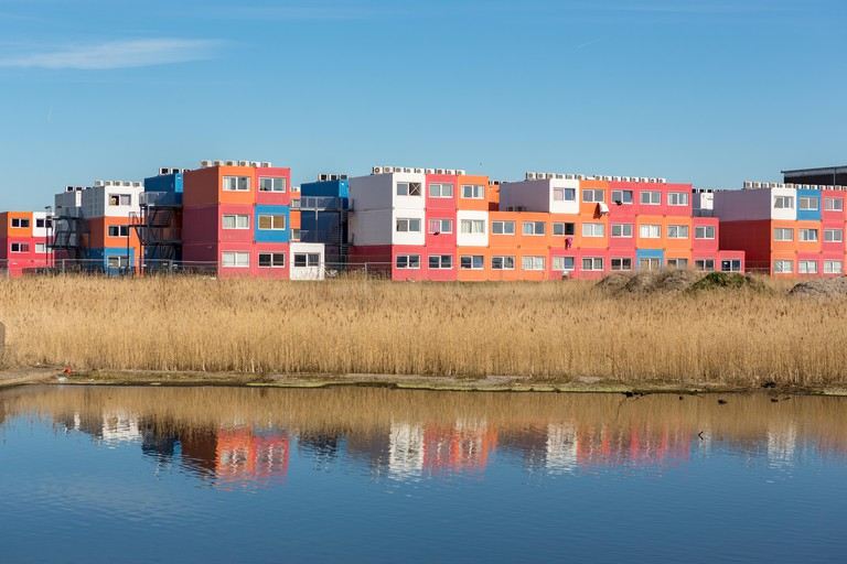 Students housing in old sea containers on the Ms. Oslofjordweg in North Amsterdam, the Netherlands.