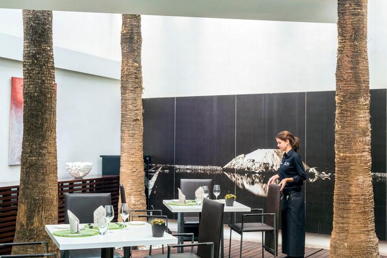 Spain, Balearic Islands, Majorca, Palma de Mallorca, Hotel Convent de la Missio designed in a former convent of the 17th century, restaurant Simply Fosh of chef Marc Fosh