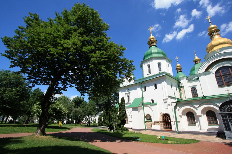 Exterior view of the Saint Sophia's Cathedral in Kyiv, Ukraine