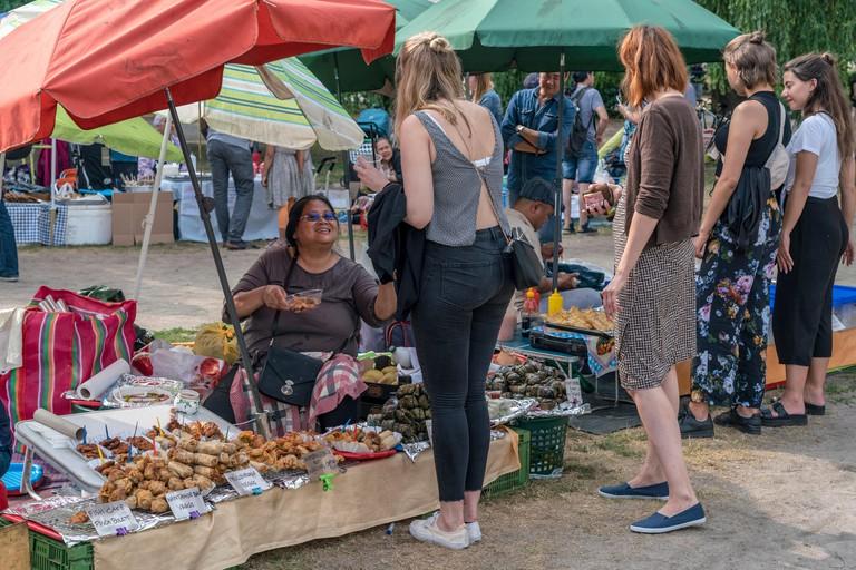 Thai food market in public park , Preussenpark, Berlin, Germany Thai food market in public park , Preussenpark, Berlin, Germany