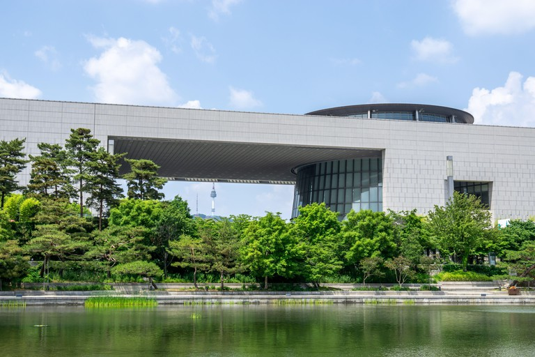 national museum of korea mirror pond and reflections. Taken during summer in Seoul, South Korea