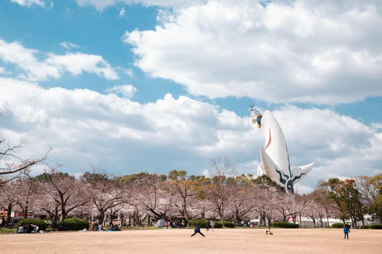 2AKH8E6 Osaka, Japan - April 3, 2019 : Expo '70 Commemorative Park at spring