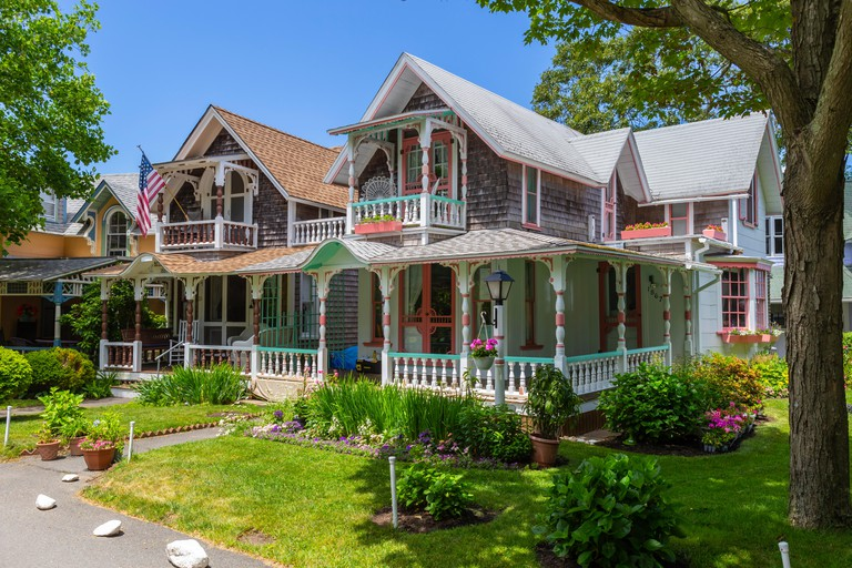 Colorful gingerbread cottages in the Martha's Vineyard Camp Meeting Association (MVCMA) in Oak Bluffs, Massachusetts.