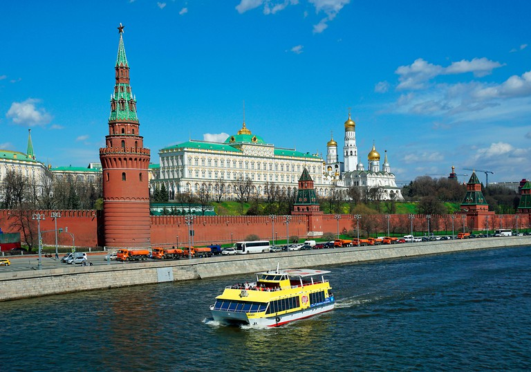 Moscow Kremlin with Cathedral of the Dormition, Archangel Michael Cathedral and Ivan the Great Bell Tower, Moscow Kremlin