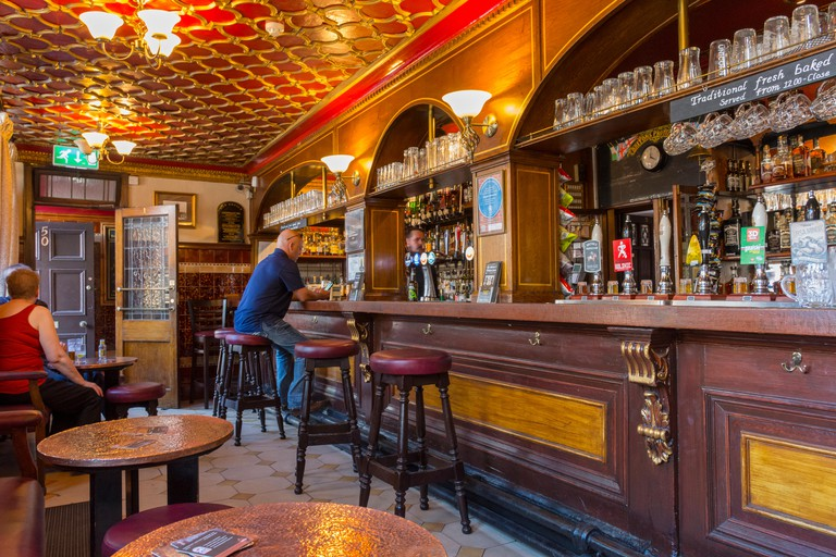 Inside the historic 'Briton's Protection' public house, Manchester, England, UK. Grade II listed.