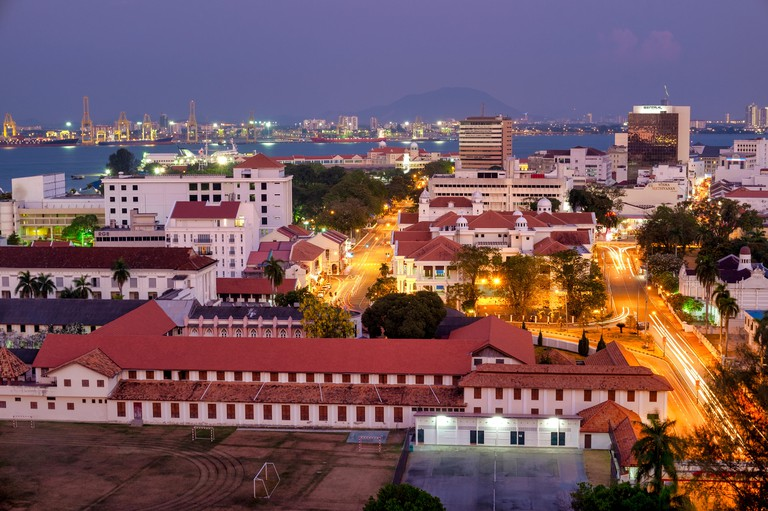 Aerial view of George Town, Penang, Malaysia