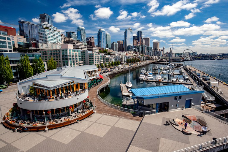 View of Seattle's Waterfront from Bell Street Pier and Conference Center at Pier 66 - Seattle, Washington, USA