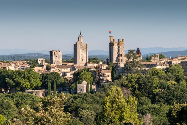 Arerial view on the Uzes, France, Europe.