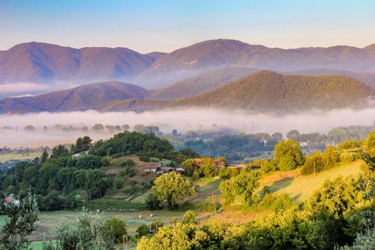 Mist in the valleys, Umbria,